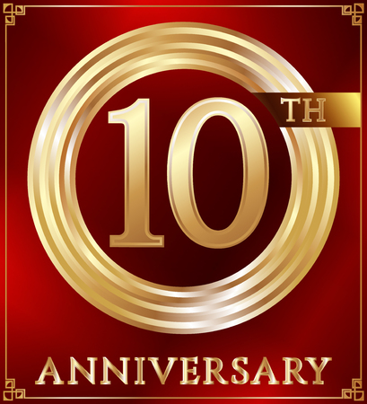 number 10: Anniversary gold ring logo number 10. Anniversary card. Red background. Vector illustration.