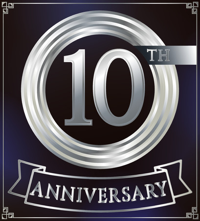 number 10: Anniversary silver ring logo number 10. Anniversary card with ribbon. Blue background. Vector illustration.