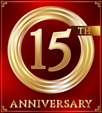 number 15: Anniversary gold ring logo number 15. Anniversary card. Red background. Vector illustration. Illustration