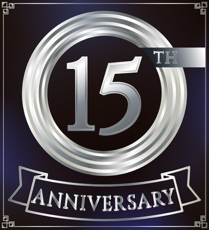 number 15: Anniversary silver ring logo number 15. Anniversary card with ribbon. Blue background. Vector illustration. Illustration