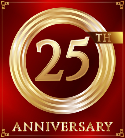 gold ring: Anniversary gold ring logo number 25. Anniversary card. Red background. Vector illustration.