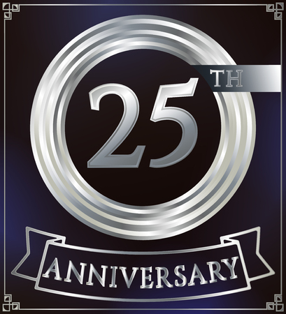 silver ring: Anniversary silver ring logo number 25. Anniversary card with ribbon. Blue background. Vector illustration. Illustration