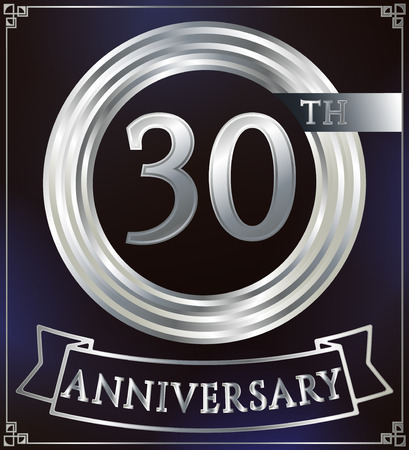 silver ring: Anniversary silver ring logo number 30. Anniversary card with ribbon. Blue background. Vector illustration.