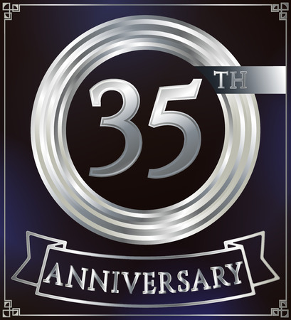 35: Anniversary silver ring logo number 35. Anniversary card with ribbon. Blue background. Vector illustration. Illustration