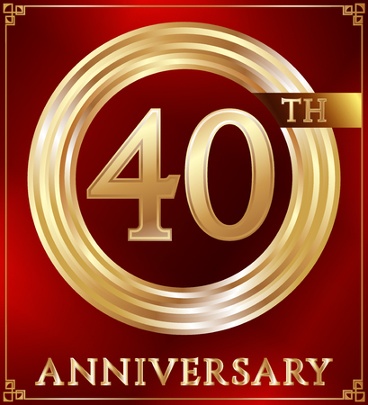 gold ring: Anniversary gold ring logo number 40. Anniversary card. Red background. Vector illustration.