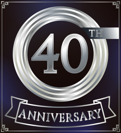 silver ring: Anniversary silver ring logo number 40. Anniversary card with ribbon. Blue background. Vector illustration. Illustration