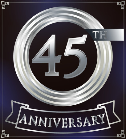 silver ring: Anniversary silver ring logo number 45. Anniversary card with ribbon. Blue background. Vector illustration.