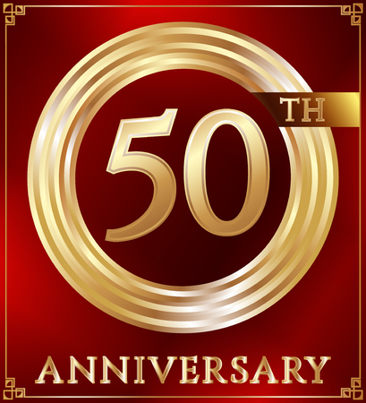 number 50: Anniversary gold ring logo number 50. Anniversary card. Red background. Vector illustration. Illustration