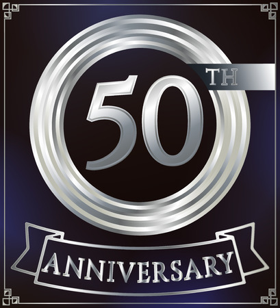 50 number: Anniversary silver ring logo number 50. Anniversary card with ribbon. Blue background. Vector illustration.