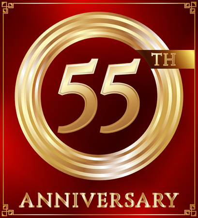gold ring: Anniversary gold ring logo number 55. Anniversary card. Red background. Vector illustration.