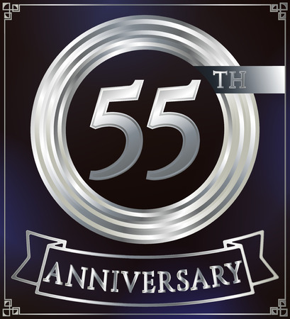 silver ring: Anniversary silver ring logo number 55. Anniversary card with ribbon. Blue background. Vector illustration.