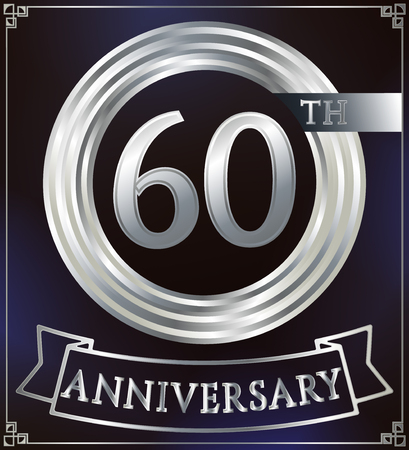silver anniversary: Anniversary silver ring logo number 60. Anniversary card with ribbon. Blue background. Vector illustration. Illustration