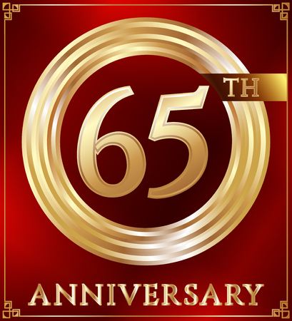 65: Anniversary gold ring logo number 65. Anniversary card. Red background. Vector illustration. Illustration