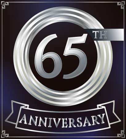 65: Anniversary silver ring logo number 65. Anniversary card with ribbon. Blue background. Vector illustration.