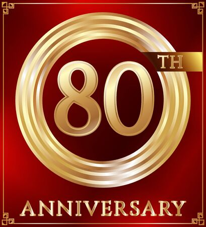 gold ring: Anniversary gold ring logo number 80. Anniversary card. Red background. Vector illustration.