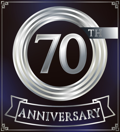silver anniversary: Anniversary silver ring logo number 70. Anniversary card with ribbon. Blue background. Vector illustration.