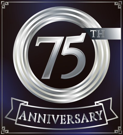 silver ring: Anniversary silver ring logo number 75. Anniversary card with ribbon. Blue background. Vector illustration. Illustration
