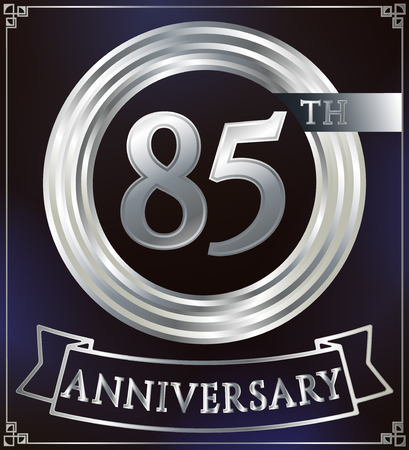 silver ring: Anniversary silver ring logo number 85. Anniversary card with ribbon. Blue background. Vector illustration.