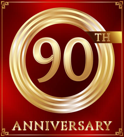 gold ring: Anniversary gold ring logo number 90. Anniversary card. Red background. Vector illustration.