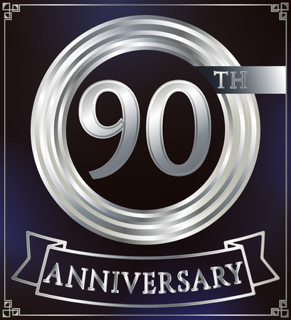 silver ring: Anniversary silver ring logo number 90. Anniversary card with ribbon. Blue background. Vector illustration.