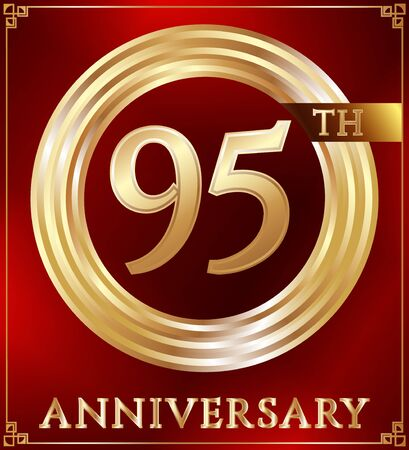 gold ring: Anniversary gold ring logo number 95. Anniversary card. Red background. Vector illustration. Illustration