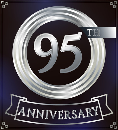 silver ring: Anniversary silver ring logo number 95. Anniversary card with ribbon. Blue background. Vector illustration. Illustration