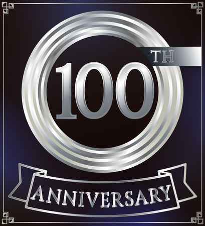 silver anniversary: Anniversary silver ring logo number 100. Anniversary card with ribbon. Blue background. Vector illustration.