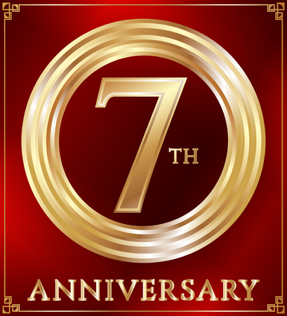 gold ring: Anniversary gold ring logo number 7. Anniversary card. Red background. Vector illustration.