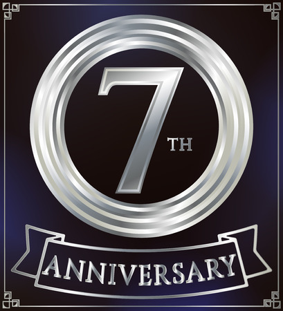 silver ring: Anniversary silver ring logo number 7. Anniversary card with ribbon. Blue background. Vector illustration.