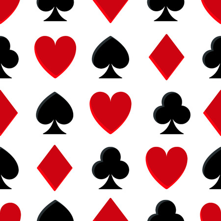 sport background: Casino poker seamless pattern on white background.