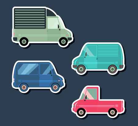car side view: Set various city urban traffic vehicles icons. Delivery van, passenger bus, pickup car. Side view. Vector illustration.
