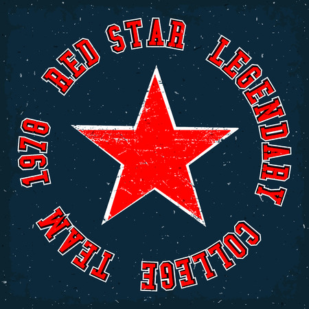 tees graphic tees t shirt printing: Red star vintage. T-shirt print design. Red star legendary college team. Vector illustration.