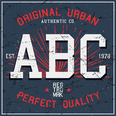 ABC vintage poster. T-shirt print design.Vector illustration.