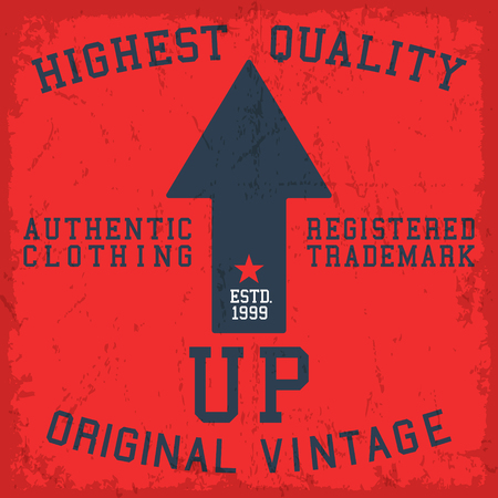 Arrow up vintage poster. T-shirt print design. Vector illustration.