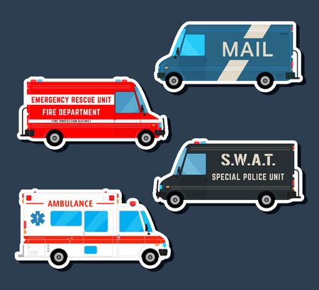 Set various city urban traffic vehicles icons. Mail delivery van, ambulance truck, fire department car, swat police bus isolated. Side view. Vector illustration. Иллюстрация