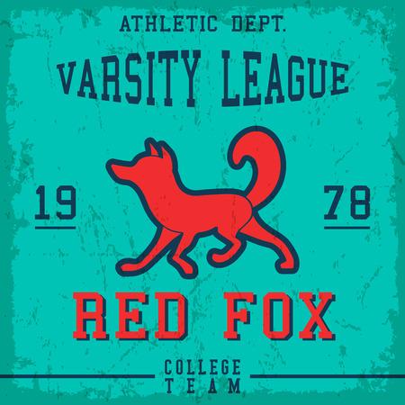 Red fox vintage poster. T-shirt print design. Vector illustration.