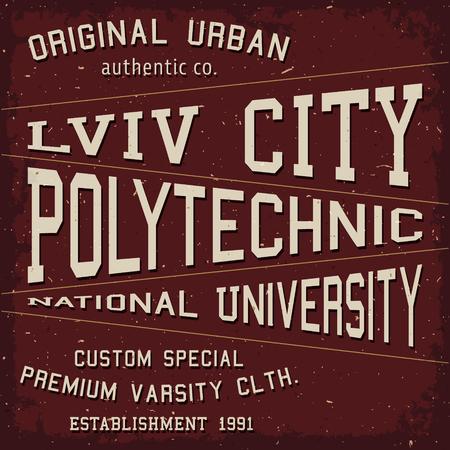 Lviv city vintage. T-shirt print design. Ukrainian city poster. Vector illustration. Illustration