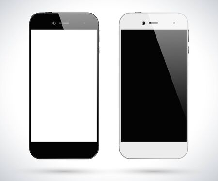 Black and white smartphones. Smartphone front view isolated.  Ilustrace