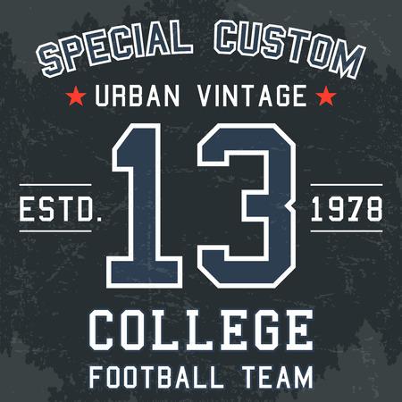 T-shirt print design. Vintage football team number 13 poster.