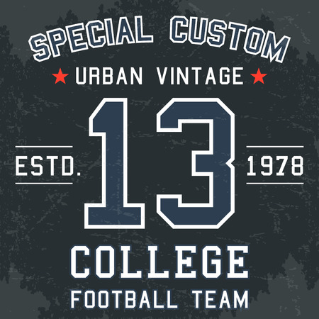 T-shirt print design. Vintage football team number 13 poster.