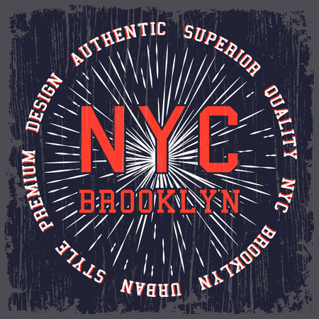 brooklyn: T-shirt print design. Vintage NYC Brooklyn poster.