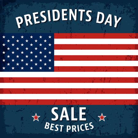 presidents: T-shirt print design. Presidents day sale vintage poster.  Illustration