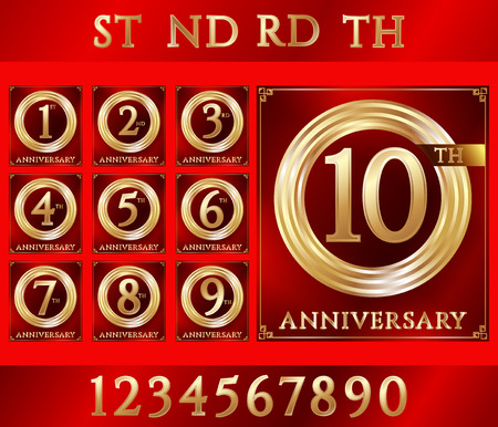 gold ring: Anniversary gold ring logo with numbers. Set of anniversary cards with ribbon on red background. Vector illustration.