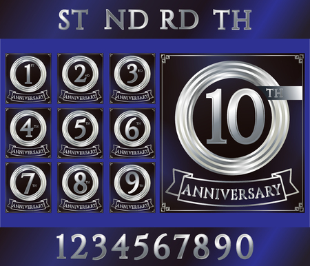 silver ring: Anniversary silver ring logo with numbers. Set of anniversary cards with ribbon on blue background. Vector illustration.
