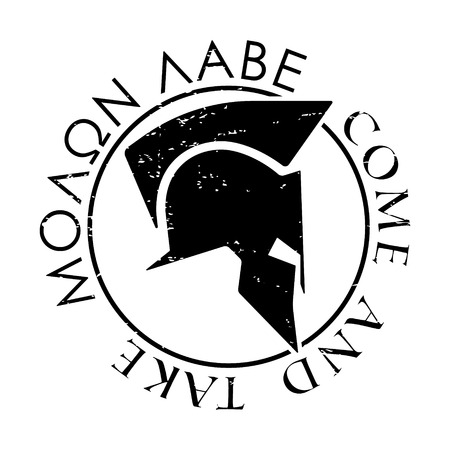 T-shirt de conception d'impression. casque Spartan avec le slogan Molon Labe - venir prendre. Impression et insigne label applique t-shirts. Vector illustration.