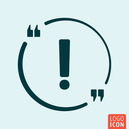 exclamation icon: Quote bubble Icon. Exclamation Icon. Exclamation  . Exclamation symbol. Minimal icon design. Vector illustration