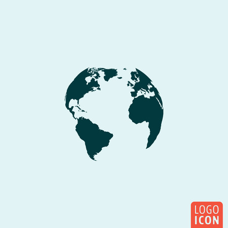 Earth globe icon. Earth globe icon. Earth globe logo. Earth globe symbol. Earth globe image. Minimal icon design. Vector illustration. Reklamní fotografie - 52212675