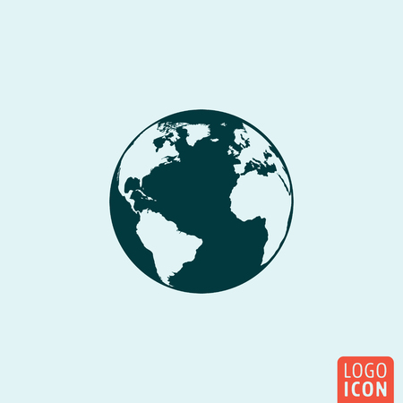Globe earth icon. Globe earth icon. Globe earth logo. Globe earth symbol. Globe earth image. Globe isolated icon minimal design. Vector illustration. Иллюстрация