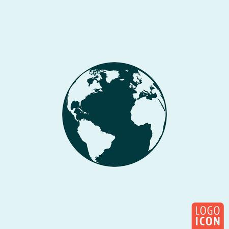 Globe ikona Ziemia. Globe ikona Ziemia. Kuli ziemskiej logo. Globe symbol ziemi. Globe ziemi obrazu. Globe pojedyncze ikony minimalistyczny design. ilustracji wektorowych.