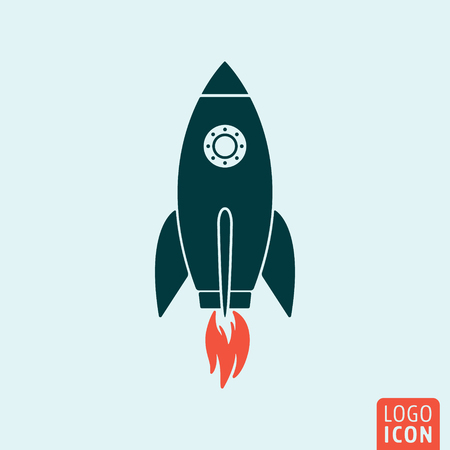 launch: Rocket icon. Rocket logo. Rocket symbol. Rocket launch icon isolated, minimal design. Vector illustration
